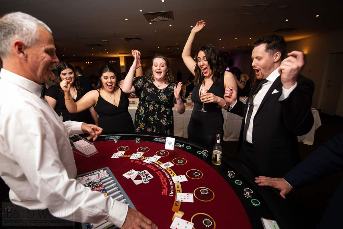 People around a blackjack table at a Gala Dinner