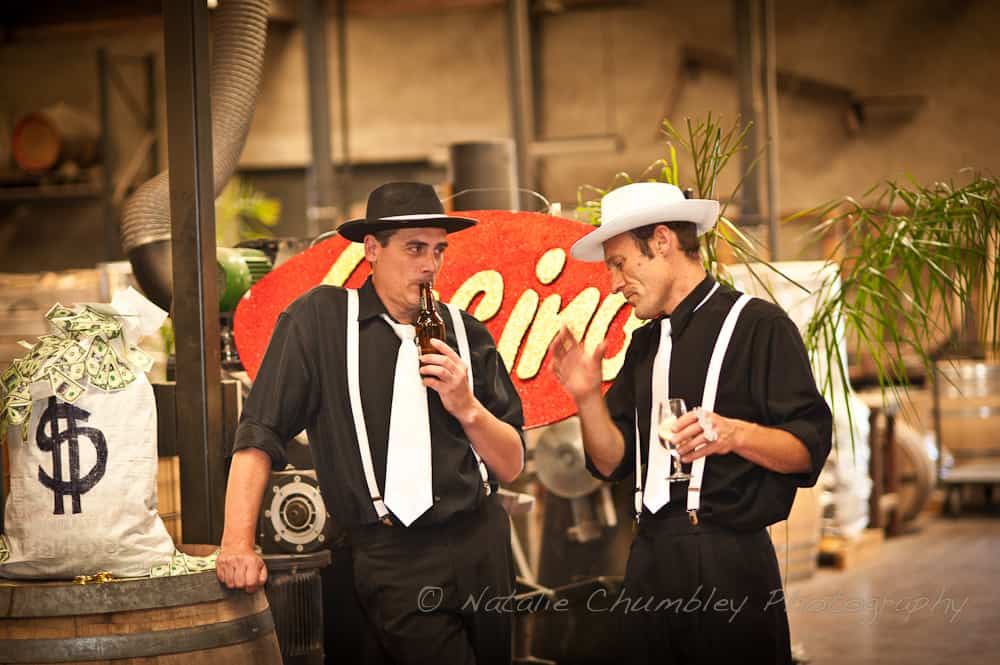 Two men dressed up for a 1920s party